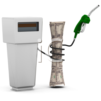 Royalty Free Clipart Image of a Gas Hose Wound Around Money