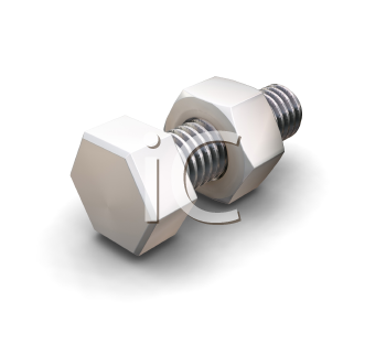 Royalty Free Clipart Image of a Nut and Bolt