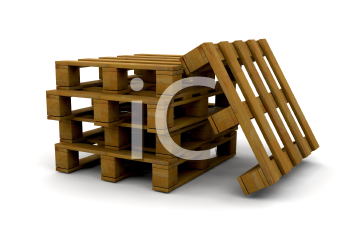 Royalty Free Clipart Image of a Stack of Pallets