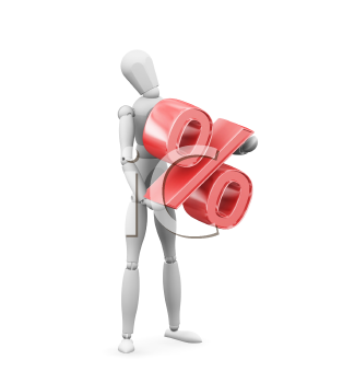 Royalty Free Clipart Image of a Person With a Percentage Symbol