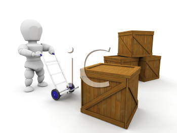 Royalty Free Clipart Image of a Person Stacking Crates