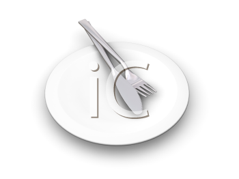 Royalty Free Clipart Image of a Plate With a Knife and Fork