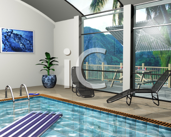 Royalty Free Clipart Image of a Pool House