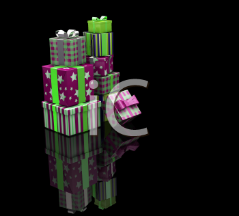 Royalty Free Clipart Image of a Stack of Presents