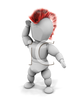 Royalty Free Clipart Image of a 3D Punk Rocker With a Mohawk