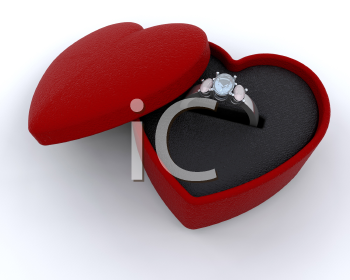 Royalty Free Clipart Image of an Engagement Ring in a Box