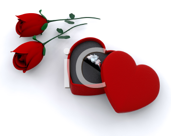 Royalty Free Clipart Image of an Engagement Ring and Roses
