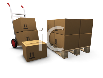 Royalty Free Clipart Image of a Skid and Dolly With Boxes