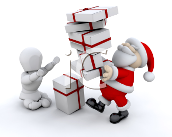 Royalty Free Clipart Image of Santa Giving Gifts