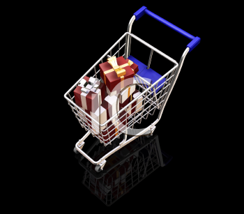 Royalty Free Clipart Image of Christmas Presents in a Shopping Cart