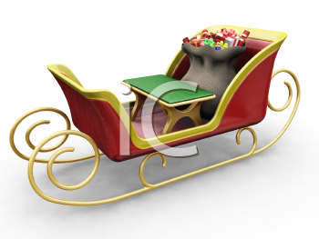 Royalty Free Clipart Image of Santa's Sleigh an a Bag of Gifts