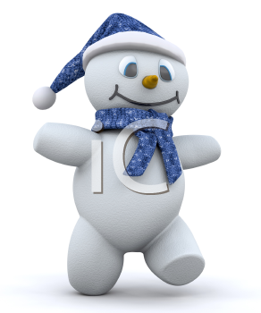 Royalty Free Clipart Image of a Happy Walking Snowman