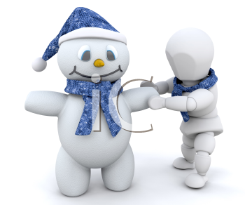 Royalty Free Clipart Image of a Person Building a Snowman