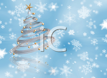 Royalty Free Clipart Image of a Snowy Background and Tree
