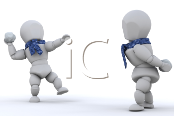Royalty Free Clipart Image of a 3D Snowball Fight