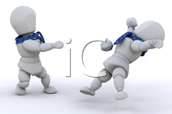 Royalty Free Clipart Image of Two People Having a Snowball Fight