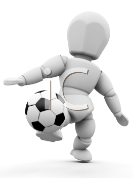 Royalty Free Clipart Image of a Guy Kicking a Soccer Ball