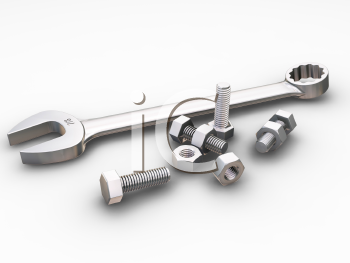 Royalty Free Clipart Image of a Wrench With Nuts and Bolts