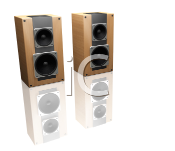 Royalty Free Clipart Image of Reflected Speakers