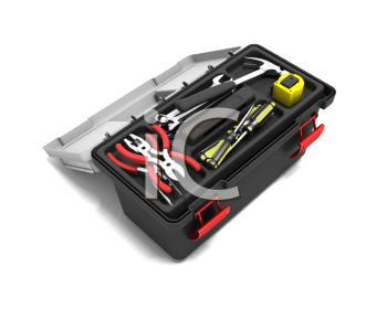 Royalty Free Clipart Image of an Open Toolbox