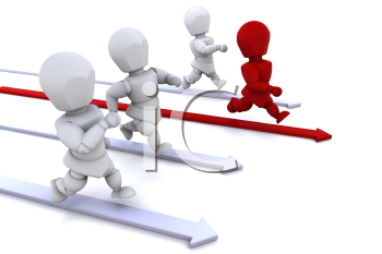 Royalty Free Clipart Image of a a Race With One Person Leading the Way