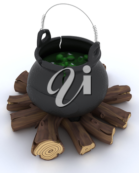 3D render of cauldron of eyeballs on log fire