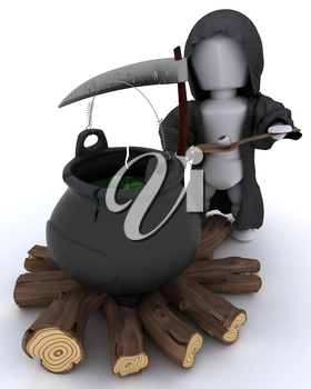 3D render of grim reaper with cauldron of eyeballs on log fire