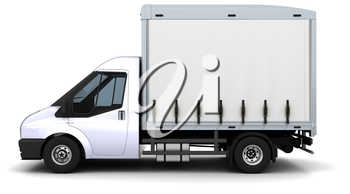 3D Render of a curtain side van
