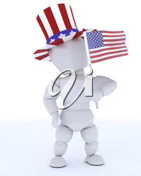 3D render of a man with american flag