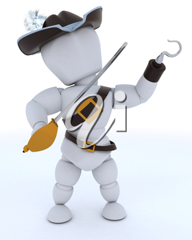 3D Render of man dressed as a pirate with hook