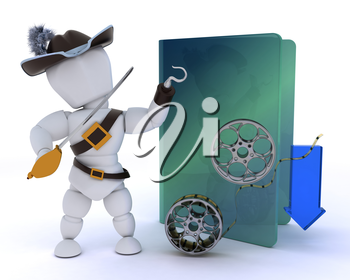 3D render of a pirate depicting illegal video downloads