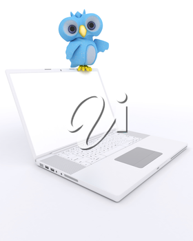 3D Render of a Cute Blue Bird Character with a laptop