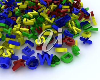 3D Render of a pile of plastic letters