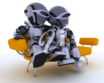 3D render of a robots sitting on a sofa