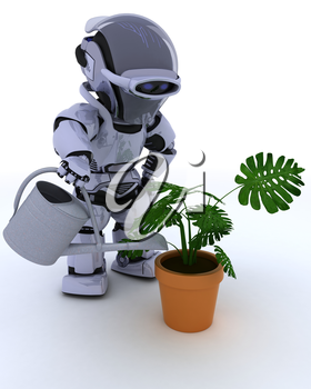3D render of a Robot with  watering can feeding a plant