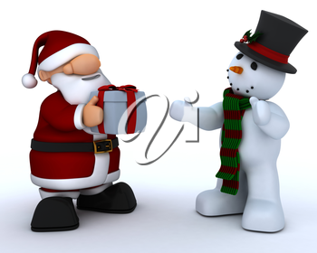 3D Render of a Cute Santa Claus Charicature and snowman