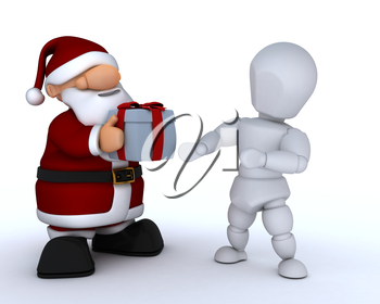 3D render of a white character and santa claus