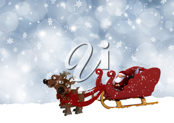 Cute Santa Claus and his reindeers on a snowflake background