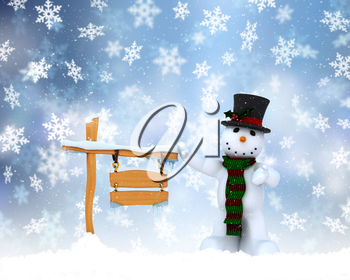 Christmas background with snowman and snowy wooden sign