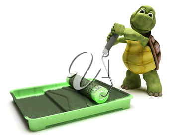 3D render of a Tortoise with paint roller