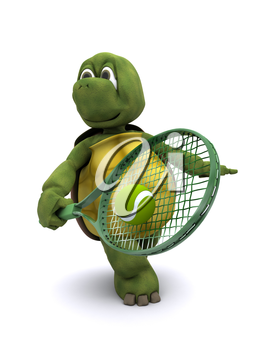 3D render of a  tortoise playing tennis