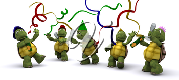 3D render of a tortoises celebrating at a party