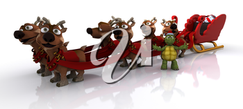 3d render of Tortoise with sleigh and reindeer