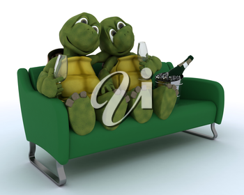 3D render of a tortoises on a sofa drinking champagne