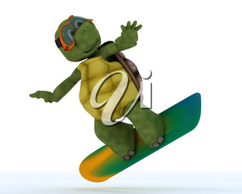 3D render of a tortoise riding a snowboard