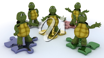 3D render of a tortoises on jigsaw pieces