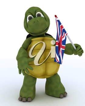 3D render of Tortoise with Union Jack Flag