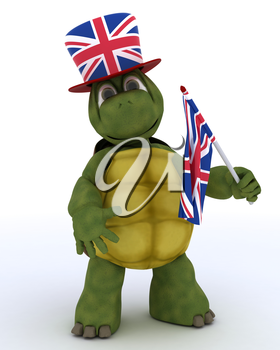 3D render of Tortoise in Union Jack Hat with Flag