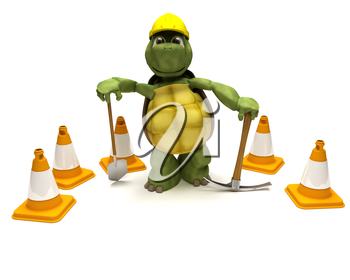 3D render of a tortoise with a  spade and pick axe with hazard cones