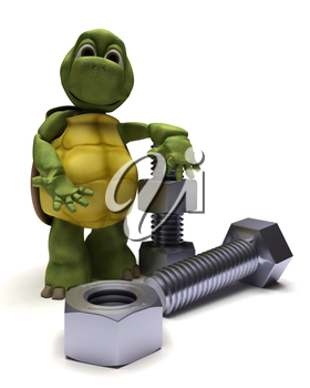 3D render of a tortoise with a nut and bolt